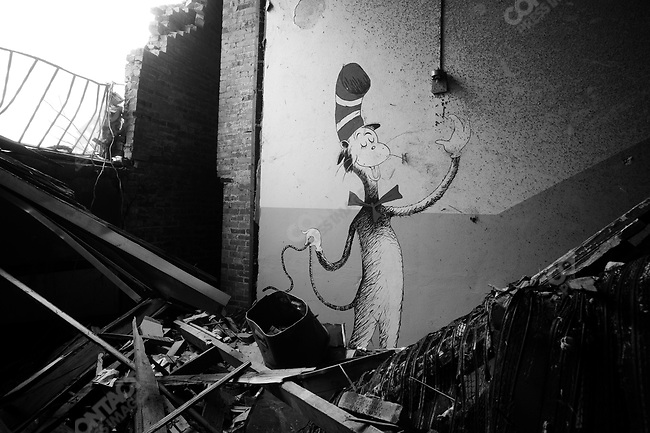 A mural of Dr. Seuss's Cat in the Hat, in the stairwell at Irving Elementary School. Joplin, Mo. May 26, 2011..