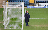 Bill Turnbull checks out the goal During BBC Breakfast as they air their live broadcast on Tuesday morning, presented by Bill Turnbull for his penultimate appearance on the programme at Adams Park, High Wycombe, England on 23 February 2016. Photo by Andy Rowland.
