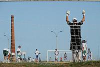 URUGUAY Montevideo, football at Rio del la Plata, Rambla Sur / Fussball am Rio del la Plata, Rambla Sur , Uruguay richtete die erste Fussball WM aus