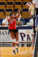 20 November 2008:  Arkansas State outside hitter Mafo Joelle (11) hits a kill shot during the Middle Tennessee 3-0 victory over Arkansas State in the first round of the Sun Belt Conference Championship tournament at FIU Stadium in Miami, Florida.