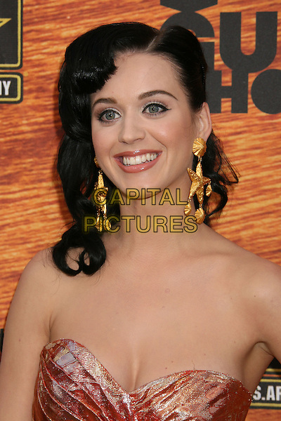 "KATY PERRY.2008 Spike TV's ""Guys Choice"" Awards held at Sony Studios, Los Angeles, California, USA..May 30th, 2008.headshot portrait katie strapless gold starfish earrings .CAP/ADM/MJ.©Michael Jade/AdMedia/Capital Pictures."