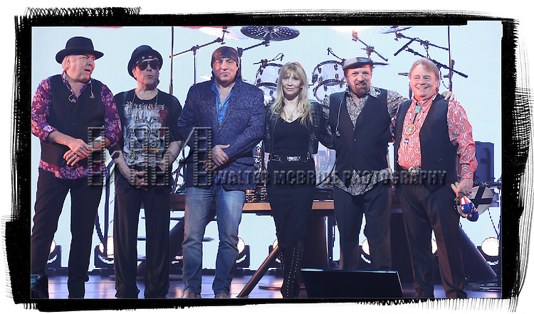 Gene Cornish, Dino Danelli,Felix Cavaliere and Eddie Brigati of The Rascals with Steven Van Zandt and Maureen Van Zandt (center) attend The Rascals Meet & Greet the Press press to promote their new Broadway Concert Show 'The Rascals: Once Upon A Dream' at  the Richard Rodgers Theatre in New York City on 4/15/2013...