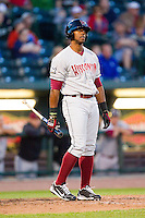 Victor Roache (28) of the Wisconsin Timber Rattlers during the game against the Great Lakes Loons at the Dow Diamond on May 4, 2013 in Midland, Michigan.  The Timber Rattlers defeated the Loons 6-4.  (Brian Westerholt/Four Seam Images)