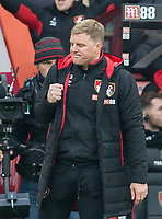 AFC Bournemouth Manager Eddie Howe punches the air at full time during the Premier League match between Bournemouth and Arsenal at the Goldsands Stadium, Bournemouth, England on 14 January 2018. Photo by Andy Rowland.