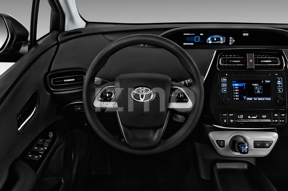 Car pictures of steering wheel view of a 2017 Toyota Prius Two 5 Door Hatchback Steering Wheel