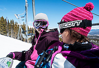 Pro snowboarder Silvia Mittermuerller (cq) and Stéphanie Souron (cq) at Breckenridge Ski Resort in Breckenridge, Colorado, Wednesday March 21, 2012...Photo by Matt Nager