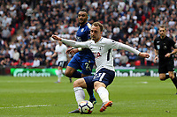 Danny Simpson of Leicester City and Christian Eriksen of Tottenham Hotspur during Tottenham Hotspur vs Leicester City, Premier League Football at Wembley Stadium on 13th May 2018