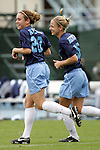 09 October 2005: North Carolina's Heather O'Reilly (left) and Lindsay Tarpley (right). The Duke Blue Devils defeated the #1 ranked Carolina Tar Heels 2-1 at Fetzer Field in Chapel Hill, North Carolina in a regular season Atlantic Coast Conference women's soccer game.
