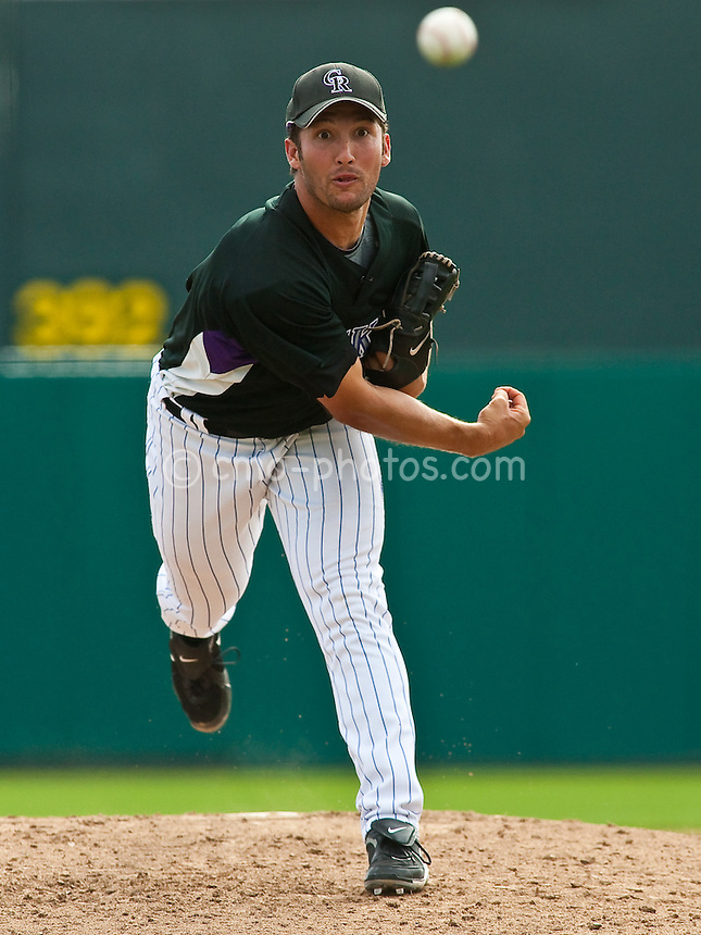 Mar 20, 2009; Tucson, AZ, USA; Colorado Rockies pitcher Huston Street throws a pitch in the top of the 8th inning of a spring training game against the Texas Rangers at Hi Corbett Field.  The Rangers defeated the Rockies 11-5.