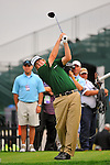 29 August 2009: Steve Marino tees off on the 15th hole during the third round of The Barclays PGA Playoffs at Liberty National Golf Course in Jersey City, New Jersey.