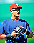 23 April 2010: Washington Nationals' shortstop Ian Desmond warms up prior to a game against the Los Angeles Dodgers at Nationals Park in Washington, DC. The Nationals defeated the Dodgers 5-1 in the first game of their 3-game series. Mandatory Credit: Ed Wolfstein Photo