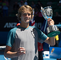 ALEXANDER ZVEREV (GER)<br /> <br /> Tennis - Australian Open - Grand Slam -  Melbourne Park -  2014 -  Melbourne - Australia  - 24th January 2013. <br /> <br /> &copy; AMN IMAGES, 1A.12B Victoria Road, Bellevue Hill, NSW 2023, Australia<br /> Tel - +61 433 754 488<br /> <br /> mike@tennisphotonet.com<br /> www.amnimages.com<br /> <br /> International Tennis Photo Agency - AMN Images