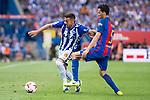 Deportivo Alaves's midfielder Victor Camarasa and FC Barcelona's midfielder Sergio Busquets during Copa del Rey (King's Cup) Final between Deportivo Alaves and FC Barcelona at Vicente Calderon Stadium in Madrid, May 27, 2017. Spain.<br /> (ALTERPHOTOS/BorjaB.Hojas)