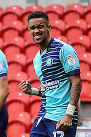Paris Cowan-Hall of Wycombe Wanderers (12) celebrates the opening goal during the Sky Bet League 2 match between Doncaster Rovers and Wycombe Wanderers at the Keepmoat Stadium, Doncaster, England on 29 October 2016. Photo by David Horn.