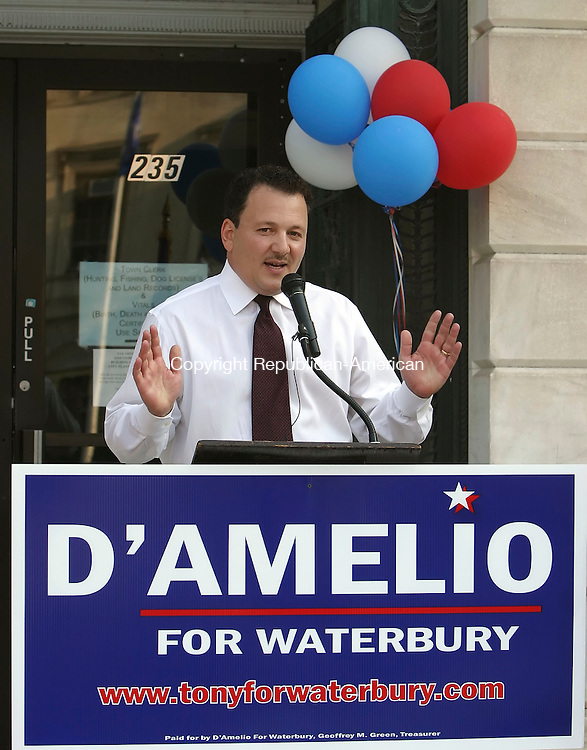 WATERBURY, CT 6/25/07- 062607BZ07- Rep. Anthony D'Amelio, R-71st District, announces his candidacy for Mayor of the City of Waterbury in front of City Hall Tuesday.<br /> Jamison C. Bazinet Republican-American