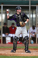 February 27, 2010:  Catcher Chad Noble of the Northeastern Wildcats during the Big East/Big 10 Challenge at Raymond Naimoli Complex in St. Petersburg, FL.  Photo By Mike Janes/Four Seam Images