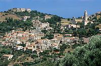 Quaint townscape and hills, Corbara, Corsica, France.