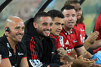 Bryn Hall is all smiles during the Super Rugby match between the Hurricanes and Crusaders at Westpac Stadium in Wellington, New Zealand on Friday, 29 March 2019. Photo: Dave Lintott / lintottphoto.co.nz