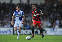 Bristol Rovers' Ollie Clarke vies for possession with Blackburn Rovers' Derrick Williams<br /> <br /> Photographer Ashley Crowden/CameraSport<br /> <br /> The EFL Sky Bet League One - Bristol Rovers v Blackburn Rovers - Saturday 14th April 2018 - Memorial Stadium - Bristol<br /> <br /> World Copyright &copy; 2018 CameraSport. All rights reserved. 43 Linden Ave. Countesthorpe. Leicester. England. LE8 5PG - Tel: +44 (0) 116 277 4147 - admin@camerasport.com - www.camerasport.com