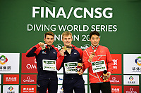 Men's 3m Platform medallists Zongyuan Wang (Bronze) Daniel Goodfellow (Silver) and Jack Laugher (Gold)<br /> <br /> Photographer Hannah Fountain/CameraSport<br /> <br /> FINA/CNSG Diving World Series 2019 - Day 1 - Friday 17th May 2019 - London Aquatics Centre - Queen Elizabeth Olympic Park - London<br /> <br /> World Copyright © 2019 CameraSport. All rights reserved. 43 Linden Ave. Countesthorpe. Leicester. England. LE8 5PG - Tel: +44 (0) 116 277 4147 - admin@camerasport.com - www.camerasport.com
