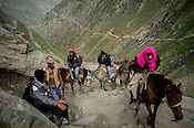 Hindu pilgrims use ponies along the glaciers enroute to the revered Hindu pilgrimage, the Amarnath yatra in Kashmir, India. Hindu pilgrims brave sub zero temperature and high latitude passes and make their pilgrimage to reach the sacred Amarnath cave, which houses a lingam - a stylized phallus, worshiped by Hindus as a symbol of God Shiva. Photo: Sanjit Das/Panos