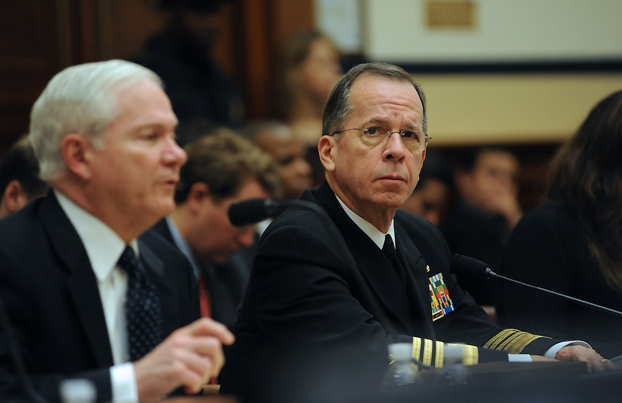 Washington, D.C.- 9Right to left) Adm. Mike Mullen, chairman of the Joint Chiefs of Staff, and Robert Gates, secretary of Defense, testify before the House Armed Services Committee about President Obama's proposed fiscal 2011 budget on Feb. 2, 2009. (Amanda Lucidon/For The New York Times) .