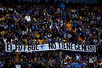 BOGOTÁ - COLOMBIA, 09-03-2019: Hinchas de Millonarios muestran una pancarta en apoyo al fútbol femenino, durante partido de la fecha 9 entre Millonarios y Atlético Nacional por la Liga Águila I 2019, jugado en el estadio Nemesio Camacho El Campín de la ciudad de Bogotá. / Fans of Millonarios show a banner in support of women's soccer, during a match of the 9th date between Millonarios and Atletico Nacional, for the Aguila Leguaje I 2019 played at the Nemesio Camacho El Campin Stadium in Bogota city, Photo: VizzorImage / Luis Ramírez / Staff.