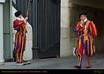 Pontifical Swiss Guard Non-commissioned Officer inspecting Halberdier St Peter's Basilica Rome