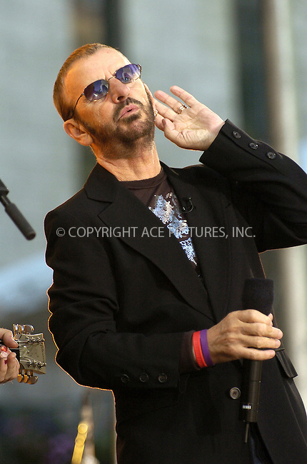 WWW.ACEPIXS.COM . . . . .  ....NEW YORK, JUNE 17, 2005....Ringo Starr performs for Good Morning America in Bryant Park.....Please byline: Ian Wingfield - ACE PICTURES..... *** ***..Ace Pictures, Inc:  ..Craig Ashby (212) 243-8787..e-mail: picturedesk@acepixs.com..web: http://www.acepixs.com