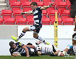 Tom Brady of Sale Sharks goes over for the third try - Aviva Premiership - Sale Sharks vs Wasps  - AJ Bell Stadium - Salford, Manchester - 5th October 2014  - Picture Simon Bellis/Sportimage