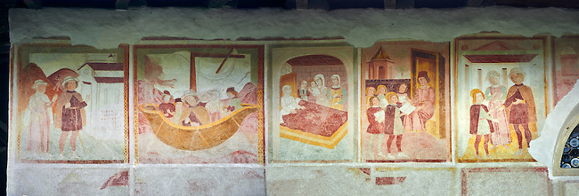 Religious murals depicting the Life of St Antonio Abate by Dionisio Baschenis ( circa 1493) on the exterior of the Gothic Church of San Antonio Abate,  Pelugo, Province of Trento, Italy