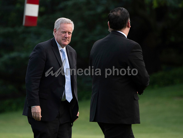 Acting Chief of Staff Mark Meadows returns to the White House with President Donald Trump and First Lady Melania Trump, in Washington, DC on Wednesday, May 27, 2020. President Trump and the First Lady are returning from NASA's Kennedy Space Center where they were scheduled to watch the SpaceX Mission 2 launch. The launch was postponed due to weather. <br /> Credit: Kevin Dietsch / Pool via CNP/AdMedia