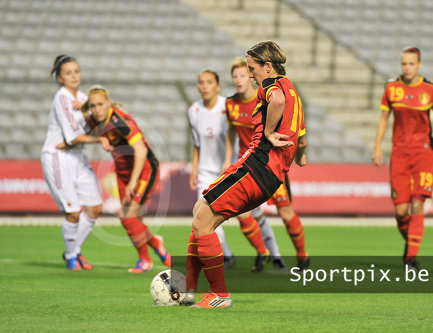 20130921 - BRUSSELS , BELGIUM : Belgian Aline Zeler pictured taking the penalty shot during the female soccer match between Belgium and Albania , on the first matchday in group 5 of the UEFA qualifying round to the FIFA Women World Cup in Canada 2015 at the Koning Boudewijn Stadion , Brussels . Saturday 21th September 2013. PHOTO DAVID CATRY