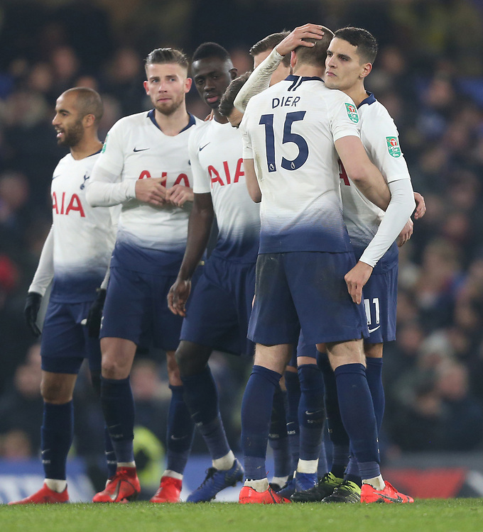 Tottenham Hotspur's Eric Diet is consoled by Erik Lamela after missing a penalty in the shoot-out<br /> <br /> Photographer Rob Newell/CameraSport<br /> <br /> The Carabao Cup Semi-Final Second Leg - Chelsea v Tottenham Hotspur - Thursday 24th January 2019 - Stamford Bridge - London<br />  <br /> World Copyright © 2018 CameraSport. All rights reserved. 43 Linden Ave. Countesthorpe. Leicester. England. LE8 5PG - Tel: +44 (0) 116 277 4147 - admin@camerasport.com - www.camerasport.com