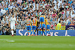 Valencia´s players celebrate a goal  during 2014-15 La Liga match between Real Madrid and Valencia at Santiago Bernabeu stadium in Madrid, Spain. May 09, 2015. (ALTERPHOTOS/Luis Fernandez)