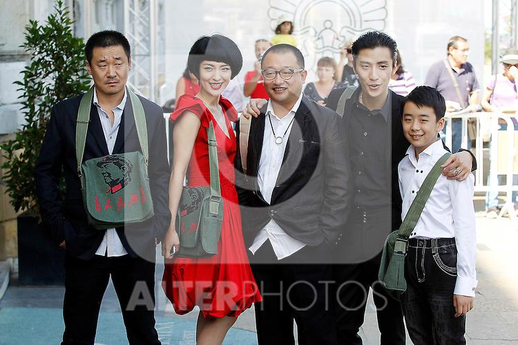 (From Left) Chinese actor Wang Jingchun, actress Ju Ze, director Wang Xiaoshuai, actor Quiao Renliang and  actor Liu Wenquing during the 59th San Sebastian Donostia International Film Festival - Zinemaldia.September 21,2011.(ALTERPHOTOS/ALFAQUI/Acero)