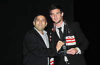 DC United midfielder Chris Pontius receiving the Fan's Choice Award.    At the 6th Annual DC United Awards Presentation ,at the Atlas Performing Arts Center in Washington DC ,Wednesday October 27, 2009.