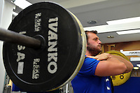 Luke Arscott in the gym. Bath Rugby pre-season training on July 21, 2015 at Farleigh House in Bath, England. Photo by: Patrick Khachfe / Onside Images