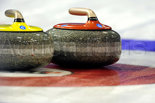 02.04.2012 Basel, Switzerland. in action during day three of the Mens World Curling Championships from St Jakobshalle.