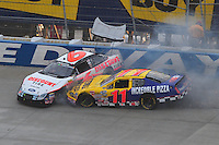 May 31, 2008; Dover, DE, USA; Nascar Nationwide Series driver David Ragan (6) and Jason Keller (11) crash during the Heluva Good 200 at the Dover International Speedway. Mandatory Credit: Mark J. Rebilas-US PRESSWIRE