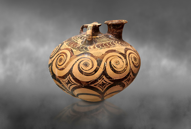 Minoan decorated stirrup jar with swirl design, Zakros Palace  1500-1400 BC; Heraklion Archaeological  Museum, grey background.