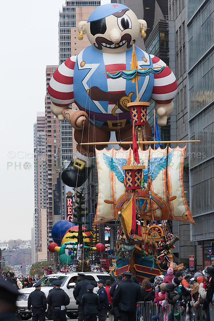 NEW YORK - NOVEMBER 25:  The Artie the Pirate helium filled balloon floats overhead during the annual Macy's Thanksgiving Day Parade  on Thursday, November 25, 2010.