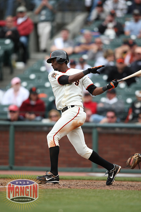 SAN FRANCISCO - JULY 20:  Eugenio Velez of the San Francisco Giants bats during the game against the Milwaukee Brewers at AT&T Park in San Francisco, California on July 20, 2008.  The Brewers defeated the Giants 7-4.  Photo by Brad Mangin