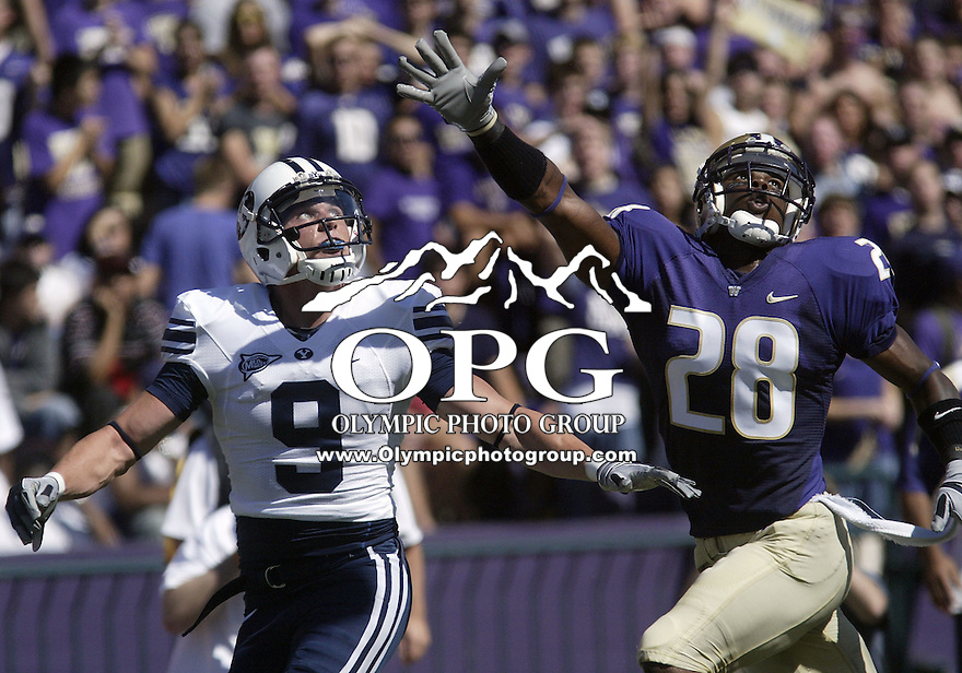 06, Sept 2008:  University of Washington cornerback #28 Quinton Richardson breaks up a Max Hall pass intended to go to BYU's #9 Austin Collie.  BYU defeated UW 28-27 with a end of the game blocked extra point at University of Washington in Seattle, WA.