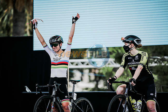 World Champion Annemiek Van Vleuten (NED) Mitchelton-Scott at the presentation before the start of La Course By Le Tour de France 2020, running 96km from Nice to Nice, France. 29th August 2020.<br /> Picture: ASO/Thomas Maheux | Cyclefile<br /> All photos usage must carry mandatory copyright credit (© Cyclefile | ASO/Thomas Maheux)
