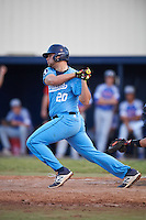 SCF Manatees designated hitter Tyler Romanik (20) at bat during a game against the College of Central Florida Patriots on February 8, 2017 at Robert C. Wynn Field in Bradenton, Florida.  SCF defeated Central Florida 6-5 in eleven innings.  (Mike Janes/Four Seam Images)