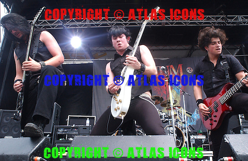 Trivium.;Performs at.OZZFEST 2005 at the Tweeter Center in Camden, NJ - July 19, 2005.Photo Credit: Eddie Malluk/Atlas Icons.com