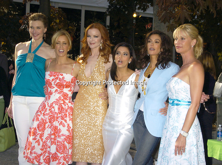 Cast of Desperate Housewives, Brenda Strong, Felicity Huffman, Marcia Cross, Eva Longoria, Teri Hatcher and Nicollette Sheridan..at The ABC Upfront Announcement of Their Fall Schedule on May 17, 2005 at Lincoln Center...Photo by Robin Platzer, Twin Images