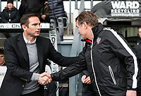 Bolton Wanderers' manager Phil Parkinson is greeted by  Derby County's manager Frank Lampard <br /> <br /> Photographer Andrew Kearns/CameraSport<br /> <br /> The EFL Sky Bet Championship - Derby County v Bolton Wanderers - Saturday 13th April 2019 - Pride Park - Derby<br /> <br /> World Copyright &copy; 2019 CameraSport. All rights reserved. 43 Linden Ave. Countesthorpe. Leicester. England. LE8 5PG - Tel: +44 (0) 116 277 4147 - admin@camerasport.com - www.camerasport.com