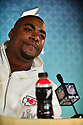 MIAMI, FL - JANUARY 27: Kansas City Chiefs Defensive end Chris Jones (#95) answers questions from the media during the NFL Super Bowl ( LIV)(54) Opening Night at Marlins Park on January 27, 2020  in Miami, Florida. ( Photo by Johnny Louis / jlnphotography.com )